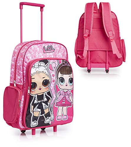 L.O.L. Surprise ! Suitcase for Girls, Wheeled Trolley Bag Carry- On Hand Luggage, with LOL Dolls Fresh and Fancy, 2 in 1 Cabin Suitcase Kids LOL Bag School Or Travel, Gifts for LOL Fans Age 3 +