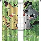Rideaux isolés pour chambre d'enfant Motif personnages de dessin animé Pokémon Mimikyu Manga, TV, film de dessin animé, mignon, bande dessinée - 106 x 114 cm