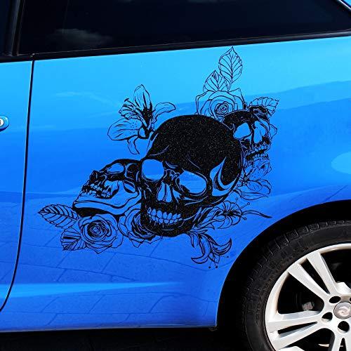 Finest Folia Skull Rose Aufkleber 59x58cm Sticker Dekor Folie Autoaufkleber Tattoo Old School KX039 (Schwarz Glanz)