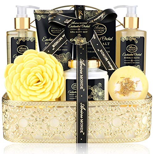 Gift Bath & Shower Spa Basket Gift Set, Enchanted Orchid Scent, with Shower Gel, Bubble Bath,Body...