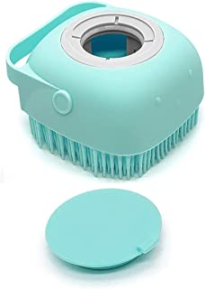Pet Dog Bath Brush Soft Silicone Dog Shampoo Brush , Brush Hair Fur Grooming Cleaning Brush Soft Shampoo Dispenser (Blue)