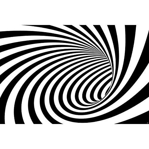 GREAT ART Fototapete – Doppler Effekt Tunnel Schwarz-Weiß – Tapete Wandbild Dekoration Modern Abstrakte Spirale Akustik Bild Mustertapete Wallpaper Wandtapete (210 x 140 cm)