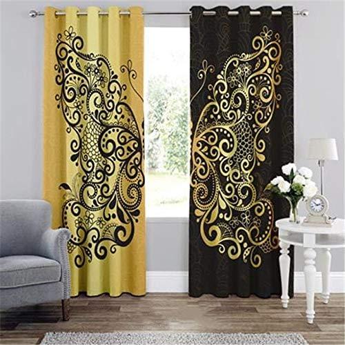 3D Cortinas Opacas,Digital Printing Shade Ojal Vertical Curtains, Blanco Patrón Amarillo Negro Simple Stylish Perforated Breathable Aislante Aislante, Para Sala De Estar Dormitorio Niño Habitación