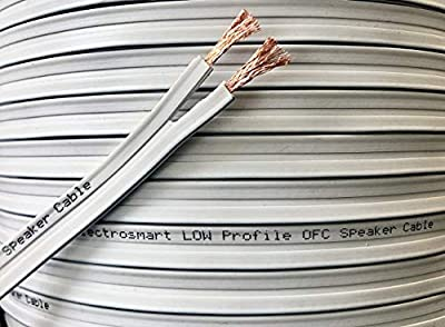 electrosmart 25m Low Profile Flat White Oxygen Free Copper OFC Loud Speaker Cable - Multi-Strand 158 (2x 79 Strand) Outside Dimensions of Cable: 1.7mm x 10mm