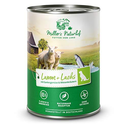 Müllers Naturhof | Lamm und Lachs | 6 x 400 g | Nassfutter für alle Hunderassen | getreidefrei und glutenfrei | mit Gartengemüse und Wiesenkräutern | naturnahe Rezeptur mit 65% Fleisch und Fisch