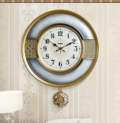 Américain horloge murale salon atmosphère européenne horloge à quartz lumière horloge de luxe chambre montre murale décoration personnalité pendule (Couleur : A)