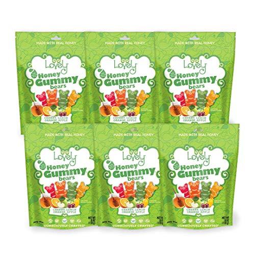 GELATIN-FREE Honey Gummy Bears - Lovely Co. 6oz Bag - Cherry, Lemon, Orange & Apple Flavors | | NO HFCS, Gluten-Free, Peanut-Free & All Real Ingredients! (6-Pack)