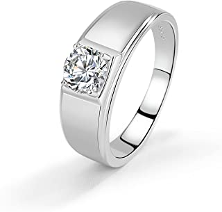 Noble Men & Women Solid 925 Sterling Silver Ring Glittering 5A Cubic Zircon Inlaid Wedding Ring - index finger or Ring Fin...