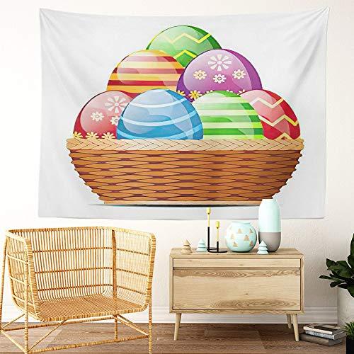 Y·JIANG Colorido tapiz lindo, canasta de huevos de Pascua para el hogar, dormitorio decorativo, manta ancha para colgar en la pared para sala de estar, dormitorio, 80 x 60 pulgadas