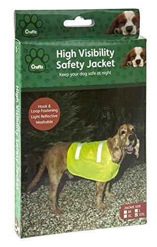 Chien Chien Warnweste Größe XL, Reflektorweste für den Hund Neon Gelb, Hundebekleidung Jagdweste, Rückenlänge 27 cm