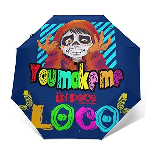 You Make Me Un Poco Loco Winddichter kompakter Automatischer Faltschirm, automatischer Faltbarer Reise-Sonnenschirm