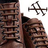 [Upgrade] Lonlam No Tie Shoelaces (Round Stretch Strings) Silicone Elastic Bungee Rubber Laceless Lazy Tieless Shoe Laces for Adults Kids Toddlers, Sneakers Athletic Running Boot Dress Shoes (Brown)