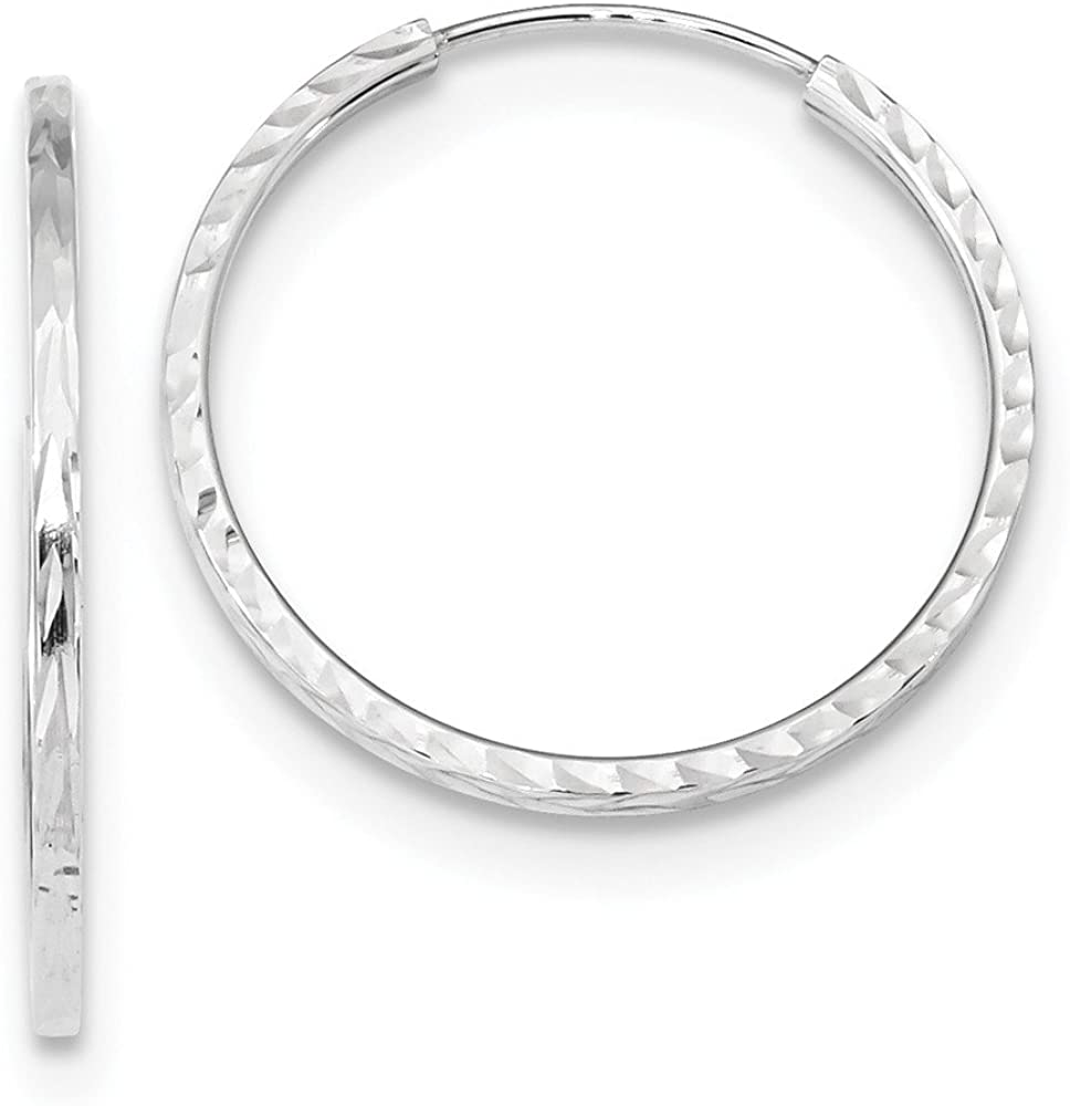 FB Jewels Solid 14K White Gold Max 84% OFF Diamond-Cut Tube Max 60% OFF Endless H Square