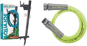 Aqua Joe SJ-SHSBB-Gry Garden Hose Stand with Solid Brass Faucet w/Quick Install Anchor Base, Grey & Flexzilla HFZG503YW Lead in Hose, 3' (feet), ZillaGreen