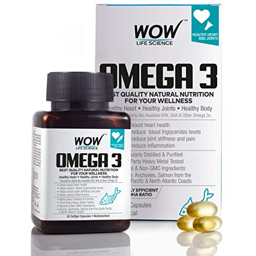 WOW Omega-3 Fish Oil Triple Strength 1000mg (550mg EPA; 350mg DHA; 100mg Other Omega 3 Fatty Acids)...