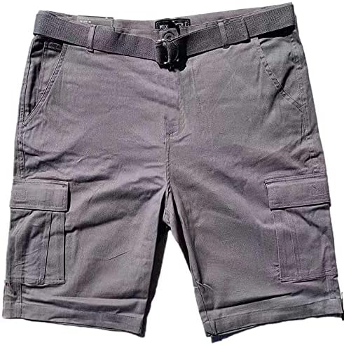 Luxe Theory Men's Cargo Shorts Casual Cotton Twill Multi Pockets Lightweight Outdoor Belted