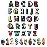 Chstarina parches letras termoadhesivas, 36pcs Parches de Tela Bordado A-Z y 0-9 Números, Apliques de Coser, DIY Parches Alfabeto de Tela para Zapatos, Jeans, Bolsos, Sombrero, Ropa