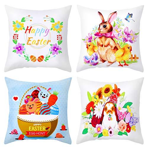 Qpout Juego de 4 fundas de almohada de Pascua, conejito de Pascua, huevos de Pascua, flores de pollito, linda funda de almohada de algodón, para decoración del hogar, sofá, sala de estar