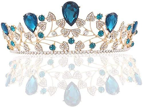 KEEBON Crown Nupcial Crown Crown Crystal Rhinestone Deeingband Jewelry Bridal Pageant Prom Boda Cabello Joyería, Tamaño: 16 * 7 cm, Color: Pulseras Azules Pendientes Rin
