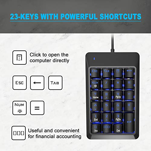 Number Pad, Mechanical USB Wired Numeric Keypad with Blue LED Backlit 22-Key Numpad for Laptop Desktop Computer PC - Black (Blue switches)