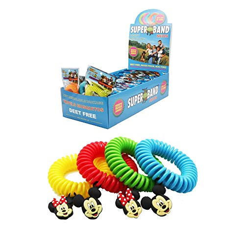 Superband Neon Mosquito & Insect Repelling Coil Bracelet - Deet Free Natural Plant Based Oils - One Size Fits All Classic Disney All Natural Insect & Mosquito Repelling Wristband