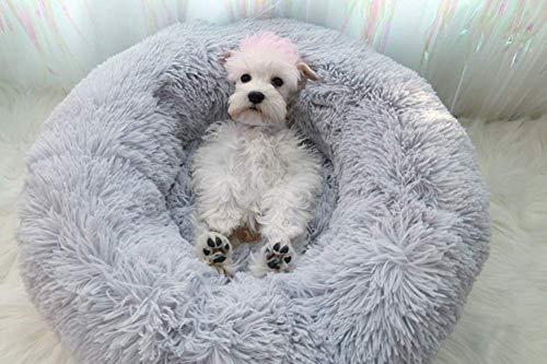 Deluxe Haustierbett für Hunde und Katzen,Cat Bett Für Katzen Und Kleine Donut-Nist-Höhlenbett für kleine, mittelgroße und große Hunde,Donut für Katzen,Welpen und kleine Hunde-grau-50*50*20cm