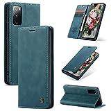 FMPC Handyhülle für Samsung Galaxy S20 FE 5G Premium Lederhülle PU Flip Magnet Hülle Wallet Klapphülle Silikon Bumper Schutzhülle für Samsung Galaxy S20 Fan Edition 5G Handytasche - Blaugrün