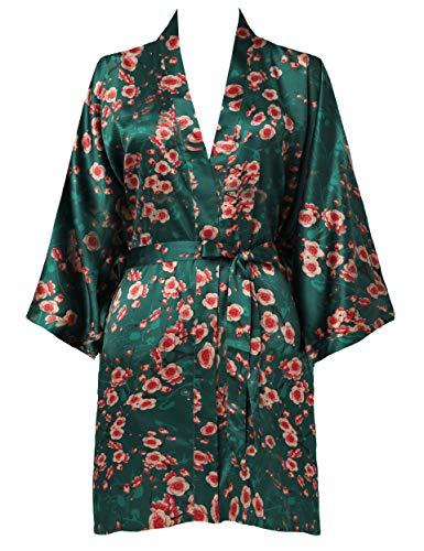 BABEYOND Morgenmantel Damen Kurz Blumen Muster Kimono Satin Robe Sommer Leicht Bademantel Mini Damen Schlafmantel Elegant Nachtwäsche (Stil2 - Dunkelgrün)