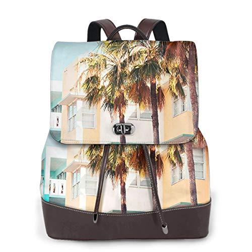 Rucksack Damen South Beach Miami, Leder Rucksack Damen 13 Inch Laptop Rucksack Frauen Leder Schultasche Casual Daypack Schulrucksäcke Tasche Schulranzen