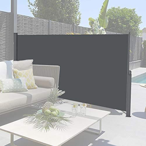 DlandHome Toldo Lateral Retráctil Pantalla Exterior retráctil Resistente al Sol, Rayos UV, 120x300 CM Protección contra el Viento Pantalla de Privacidad autorretráctil para Patio, jardín, balcón Gris