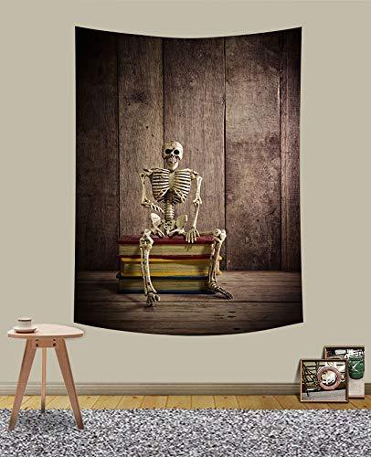 N\A Tapiz de Calavera para Colgar en la Pared, Hippie Esqueleto Retro Tablero de Madera decoración Tapiz para Colgar en la Pared para apartamento Dormitorio Porche GTQQUH839