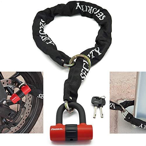 RADIKAL RK72120L antifurto per Moto, Doppia Funzione, 2 in 1, Catena con Fiocco da 120 cm e Mini U da 14 mm, Blocco Disco