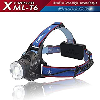Zoomable Flashlight Hiking Rechargeable XML T6 CREE Led Hiking Headlight Flashlight Adjustable Streamlight LED