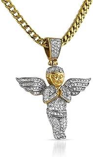 Hip-Hop Bling Gold Cherub Angel Pendant CZ Micro Pave Set Steel