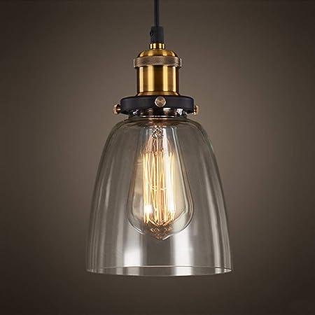 Suspension Vintage Luminaire Industriel Abat-jour en Verre Lampe Style Plafonnier Culot Edison E27 40W Pour Sallon Cuisine Chambre à coucher Restaurant Café Repas -(Verre clair)