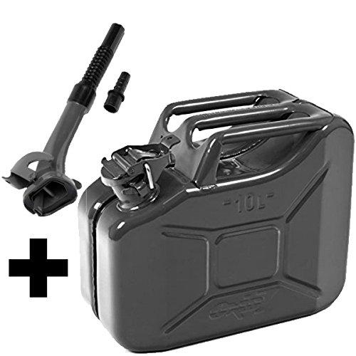 Oxid7 Benzinkanister Kraftstoffkanister Metall 10 Liter schwarz inkl. Ausgießer mit UN-Zulassung - Bauart geprüft - für Benzin und Diesel