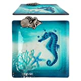 Comfy Hour Under The Sea Collection Decorative Ocean Coastal Seahorse Starfish Coral Sea Snail Conch Square Glass Plate Dishwasher Safe