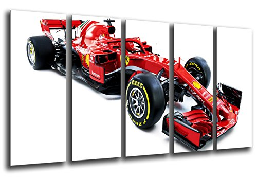 Cuadro Fotográfico Formula 1 Coches, Ferrari F1sf71-h, Ferrari F12018, Sebastian Vettel, Kimi Raikkonen Tamaño total: 165 x 62 cm XXL