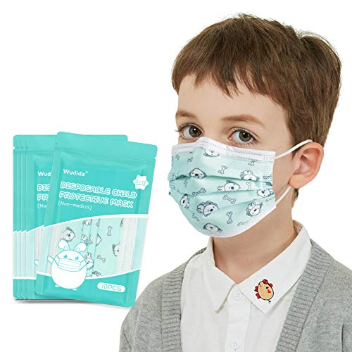 Kids face mask for Boys and Girls 50pcs Disposable Child Face Mask Green Cartoon Dog