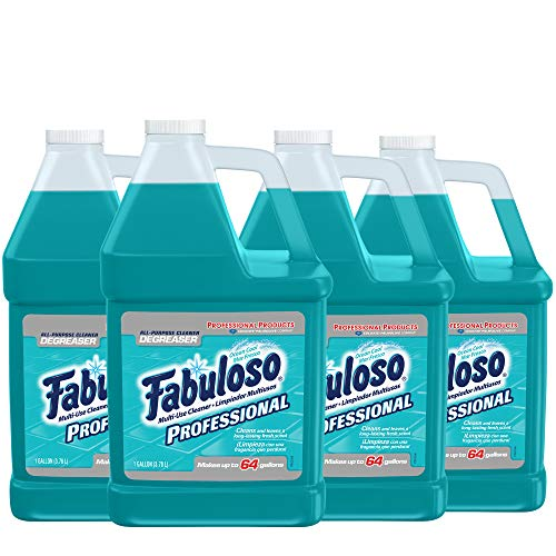 FABULOSO Professional All Purpose Cleaner & Degreaser, Ocean Cool, Concentrated Formula, Bathroom Cleaner, Toilet Cleaner, Floor Cleaner, Shower Cleaner, Glass Cleaner 1 Gallon (Pack of 4) (US05252A)