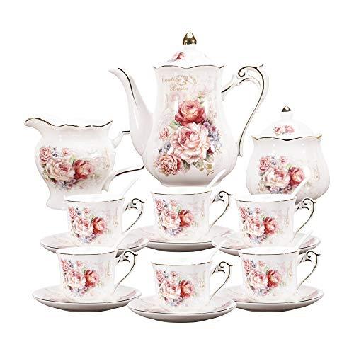 english tea set for adults fanquare 15 Pieces Porcelain Vintage Tea Set,Rose Flowers Tea Party Set for Women,Adults,China Coffee Set
