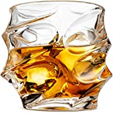 Premium Crystal 11 Oz. Whisky Glasses Set of 2 | Fun'Get a Grip' Design Makes Prime Men's Corporate Gift Idea for Christmas Holiday | For Whiskey, Tequila, Vodka, Rum | Dishwasher Safe - Double Dram