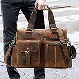 JTRHD Bolsa de Viaje de Viaje Bolsa de Viaje Retro Bolsa de Hombro de Cuero Horizontal Outdoor Business Travel Oficina de Equipaje para Hombre y Mujer (Color : Marrón, Size : 37 x 11 x 26cm)