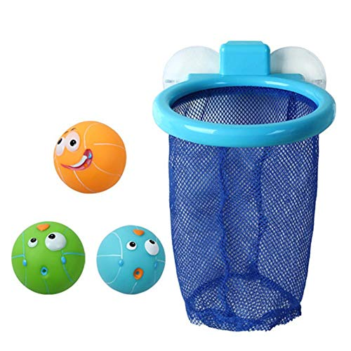 Sanmubo Boy Girl Badewanne Shooting Game Spaß Basketball Hoop & Balls Spielset für Kinder mit Saugnäpfen Stick auf jeder ebenen Fläche + 3 Bälle enthalten