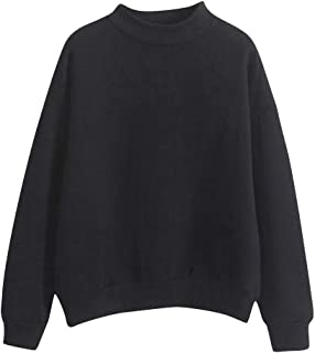 comprar comparacion Reooly Sudadera de Felpa suéter de Manga Larga con Cuello en O de Color Liso para Mujer