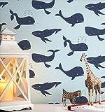 NEWROOM Kindertapete blau Wale Blauwal Kinder Vliestapete Vlies Kindertapete Kinderzimmer Babytapete Babyzimmer Natur