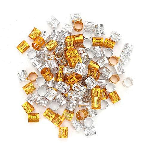 100 piezas de cuentas de trenzas para el cabello con rastas ajustables, anillos metal de aluminio, puños, decoración del cabello, cuentas rastas, trenzado, decoraciones para el cabello(Oro + plata)