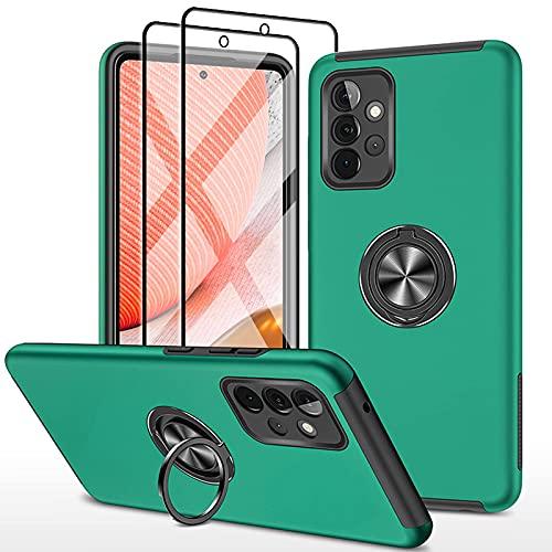 SmaCase Funda Compatible con Samsung Galaxy A72 Carcasa +2 Piezas Protector de Pantalla 360 Grados Anillo Giratorio para Soporte - Vert...