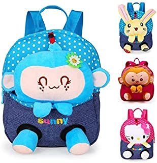 BEESCLOVER Kids Plush Backpacks Monkey Mini Schoolbag Bear Plush Backpack Children Rabbit School Bags Girls Boys Backpack Mochila Blue Monkey One Size