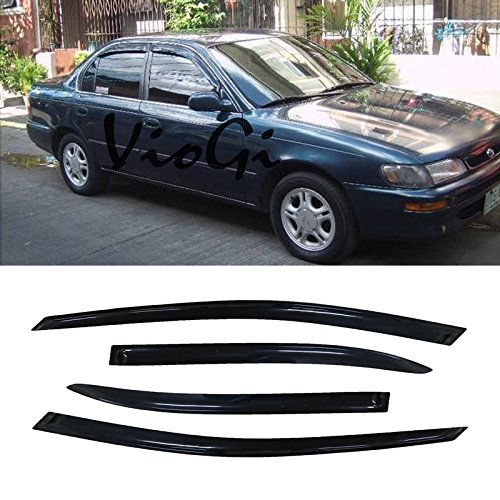VioletLisa 4pcs Out-Channel Reinforced Acrylic Sun Rain Guard Vent Shade Window Visors for 93